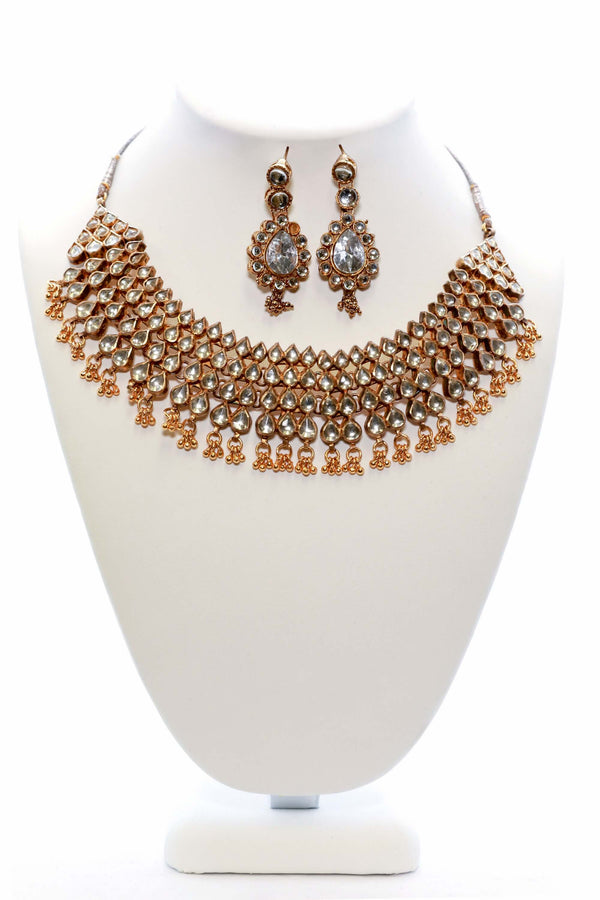 Large Golden Necklace and Earring Set - Trendz & Traditionz Boutique