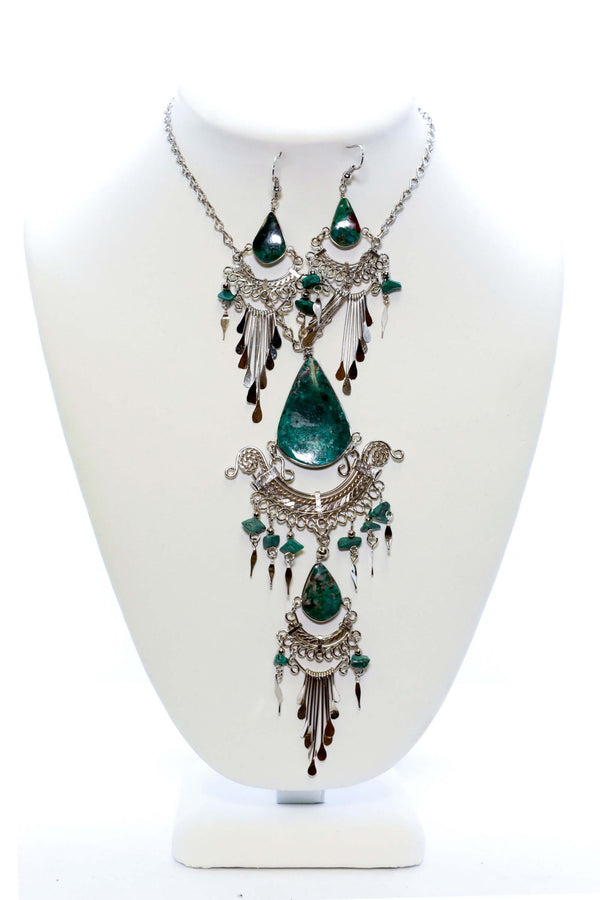 Silver Labradorite Statement Set - Trendz & Traditionz Boutique