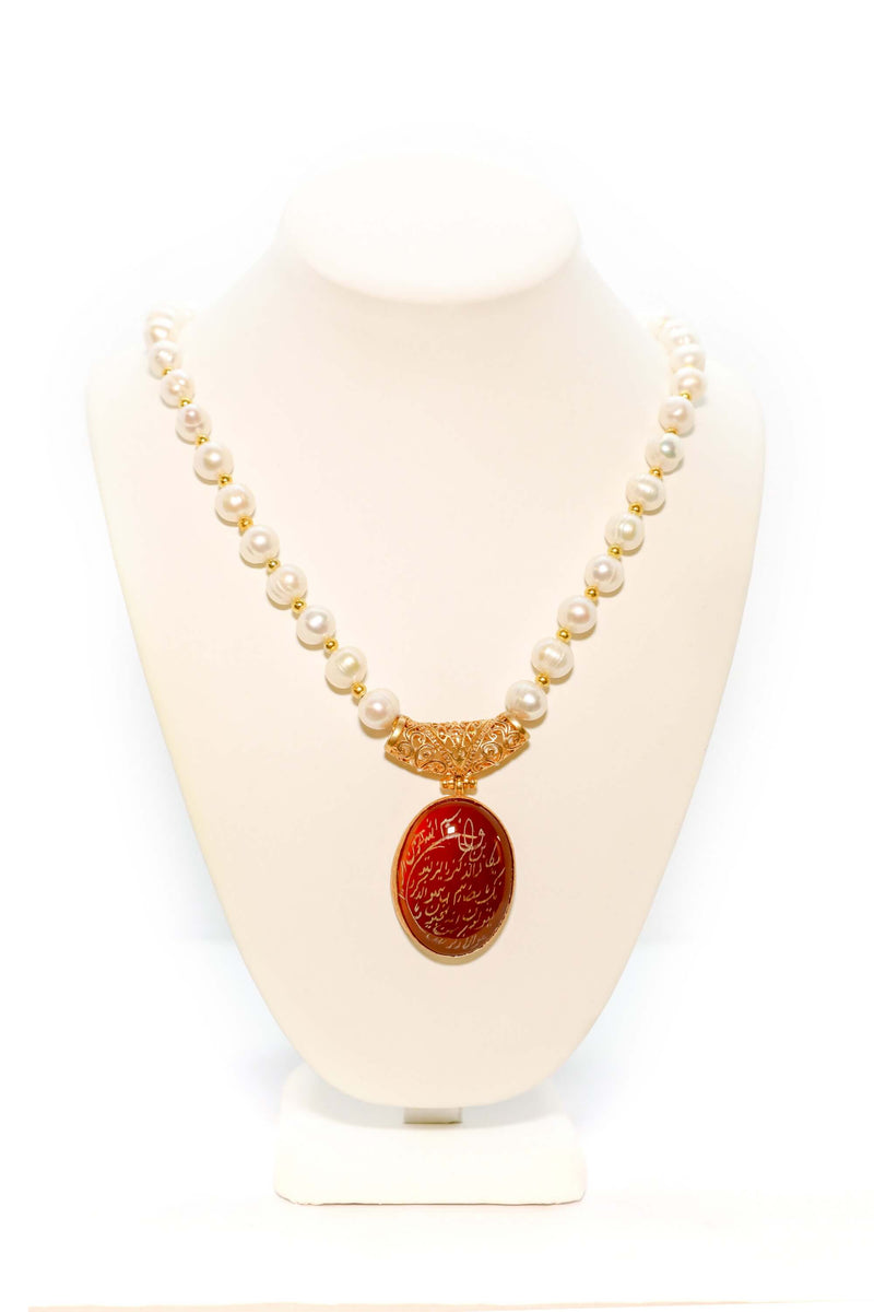 Agate Calligraphy Necklace- Trendz & Traditionz Boutique