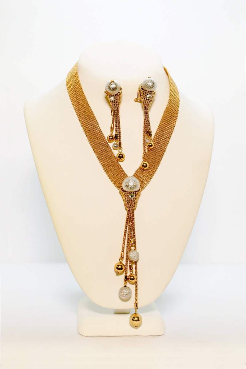 Golden Necklace and Earring Set - Trendz & Traditionz Boutique