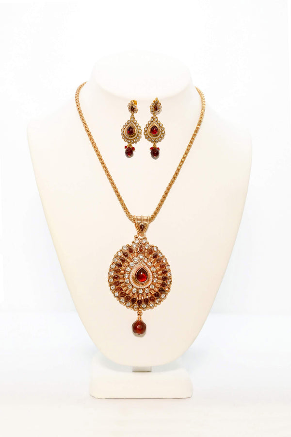 Gold Pendant With Ruby Red Stones - South Asian Fashion & Unique Home Decor