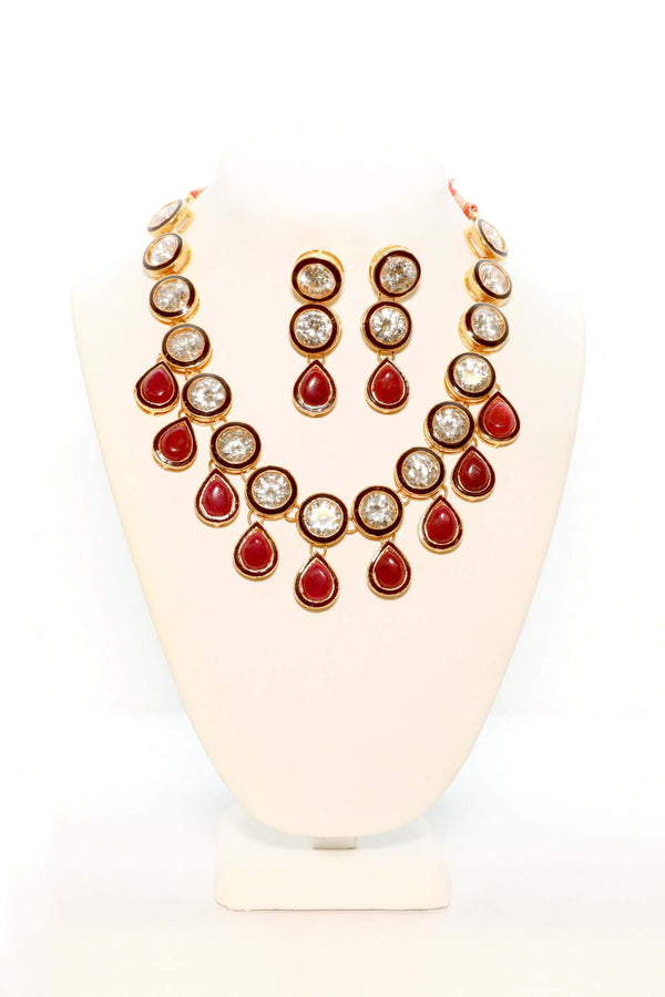 Large Maroon & Crystal Stones Necklace Set - Trendz & Traditionz Boutique
