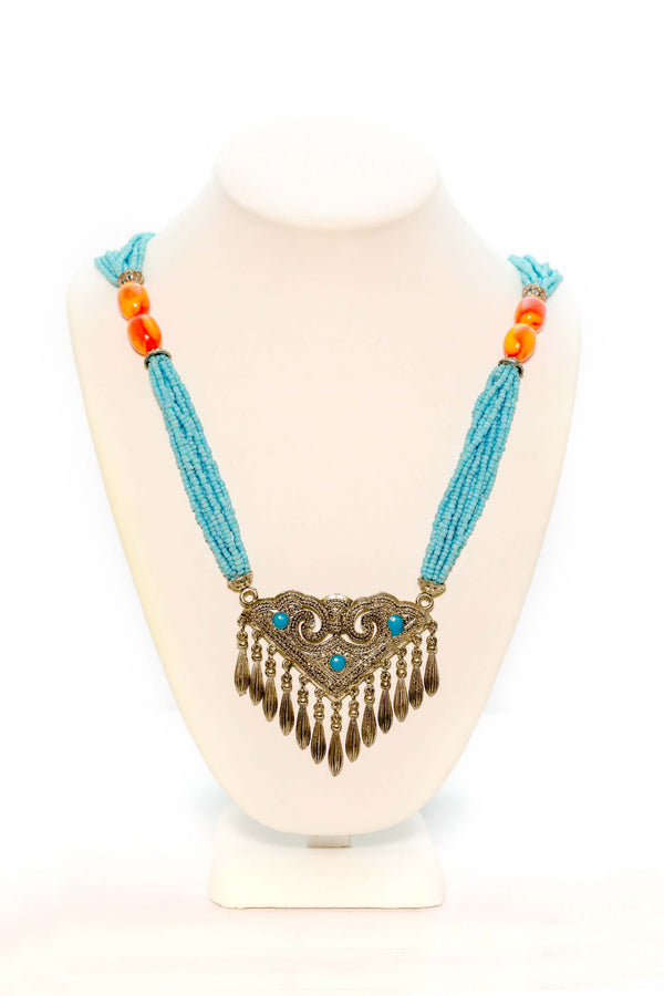 Turquoise Statement Necklace -Traditional Jewelry- South Asian Fashion