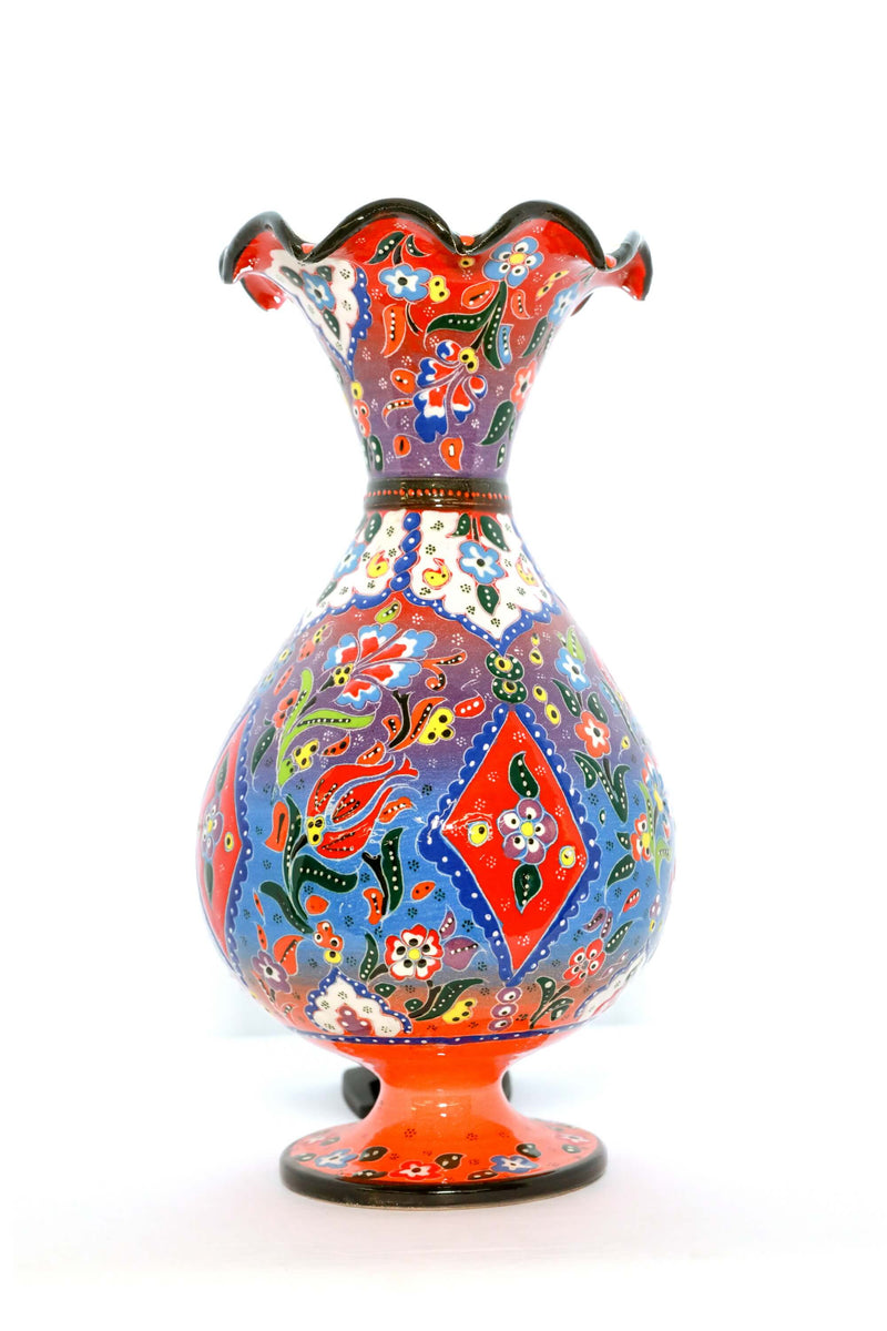 Multicolored Ceramic Hand Painted Floral Vase - Trendz & Traditionz Boutique