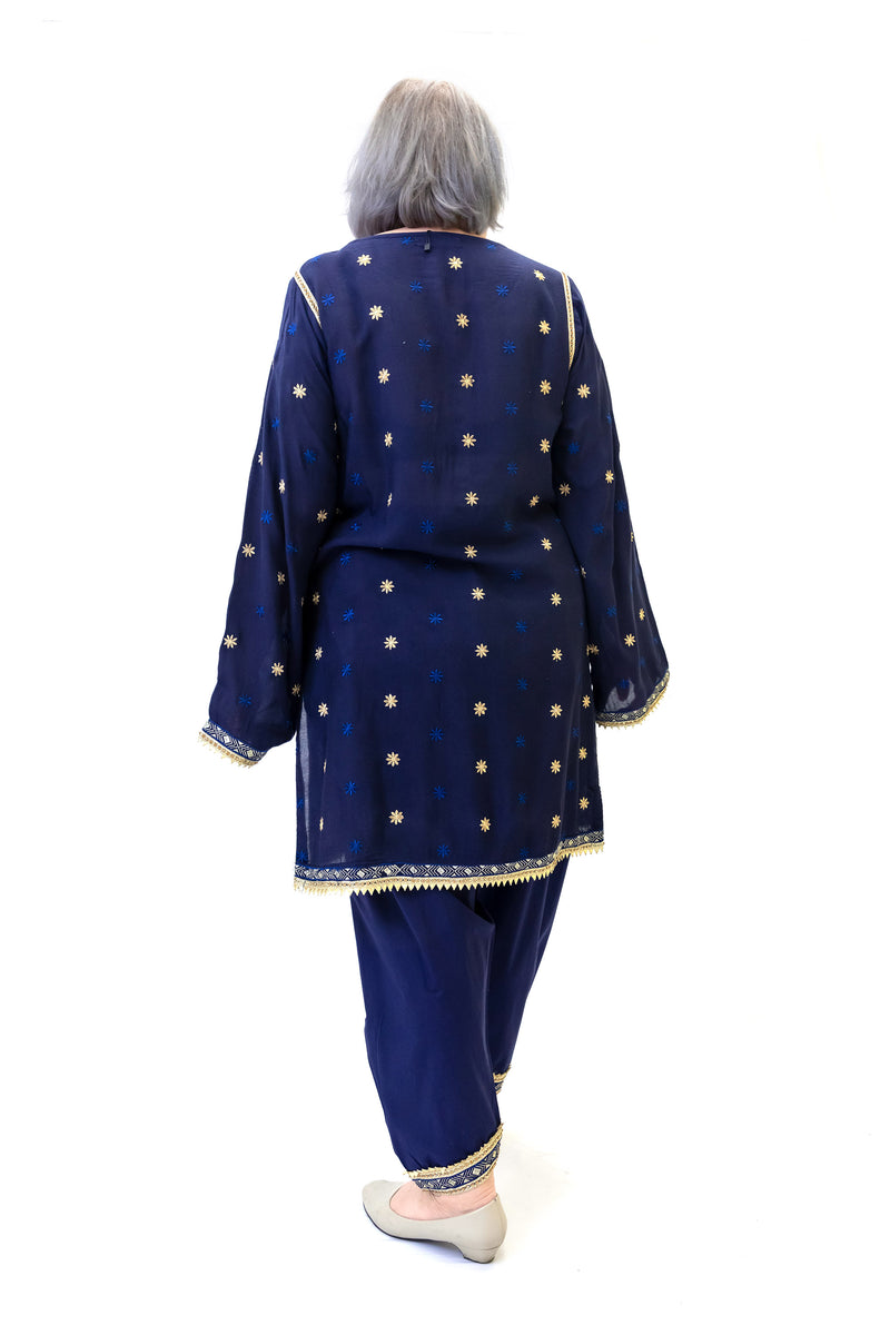 Navy Blue Chiffon Embroidered Salwar Kameez - South Asian Fashion