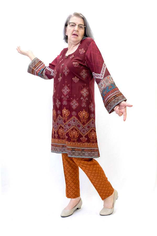 Maroon Cotton Salwar Kameez-Maria B. Suit- Women's South Asian Fashion