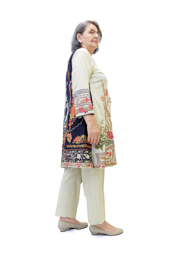 Beige Embroidered Salwar Kameez - Elan Suit - South Asian Fashion