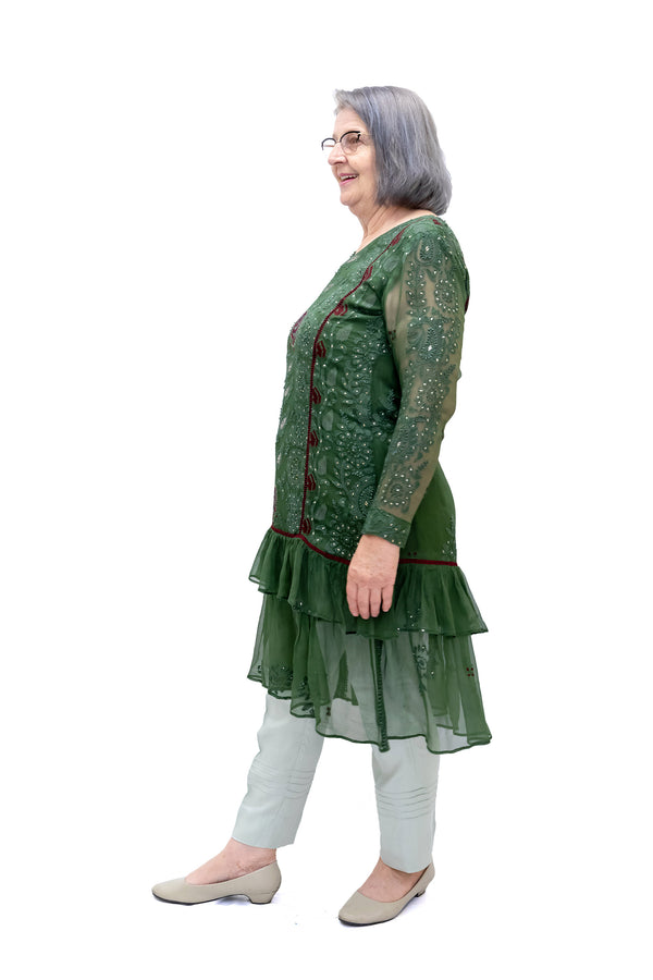 Green Embroidered Chiffon Kurti - Women's Shirt - South Asian Fashion