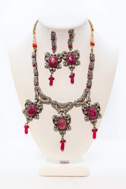 Red Necklace and Earring Set - South Asian Jewelry