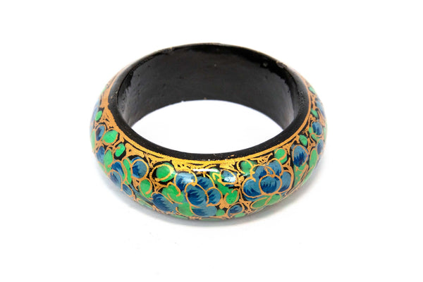 Hand Painted Blue Wooden Bangle - South Asian Fashion & Accessories