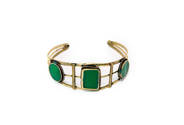 Turkish Silver Bracelet With Green Stones - Trendz & Traditionz Boutique