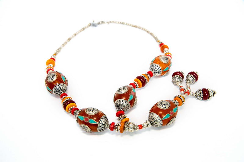 Turkish Silver Necklace With Tibetan Stones  - Unique South Asian Accessories
