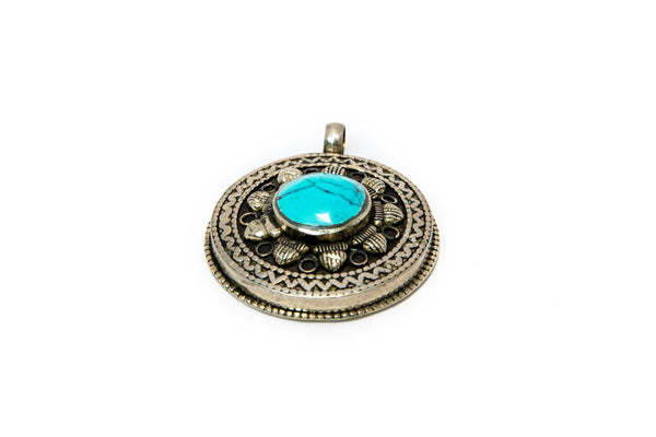 Silver Pendant with Turquoise Stone - Traditional South Asian Jewelry