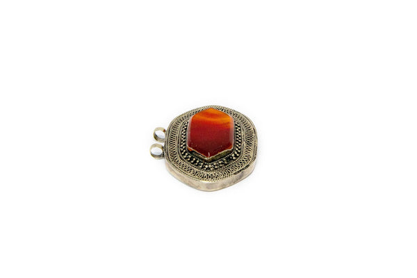 Gemstone & Turkish Silver - Large Pendant - South Asian Jewelry