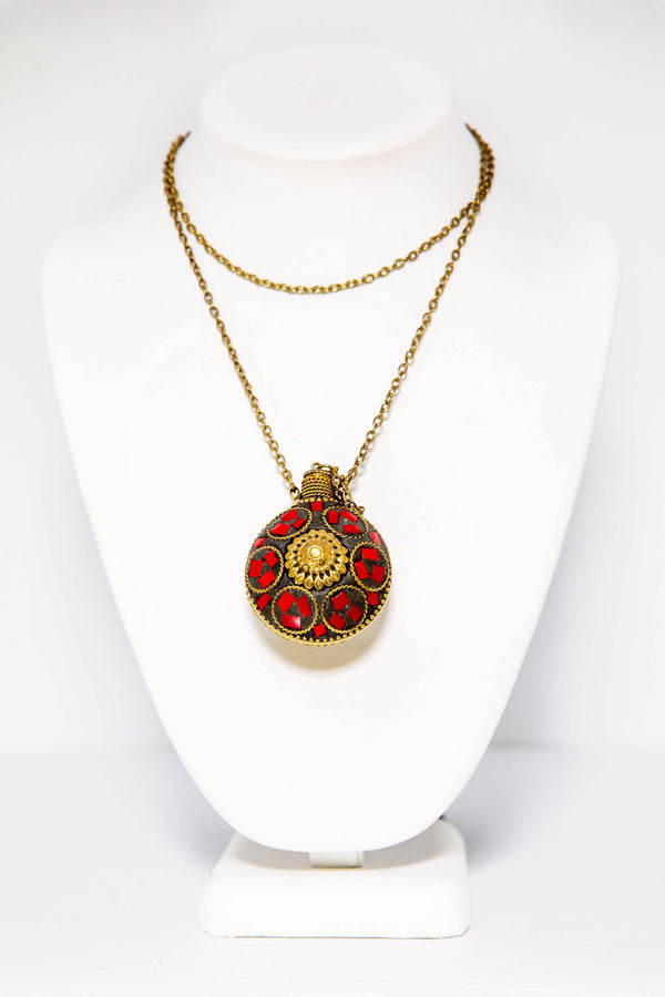 Necklace with Red and Gold Pendant - South Asian Fashion & Unique Home Decor