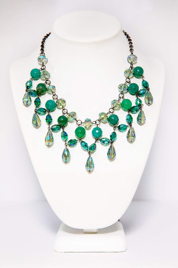 Green Beaded Necklace - Handmade South Asian Jewelry