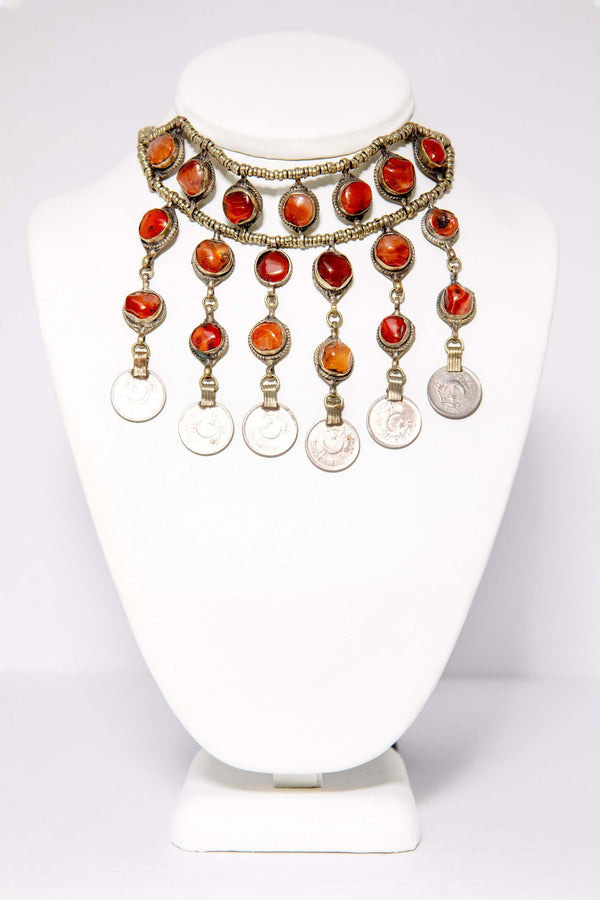 Brass Beaded Necklace With Red Stones and Pakistani Coins - South Asian Fashion & Unique Home Decor