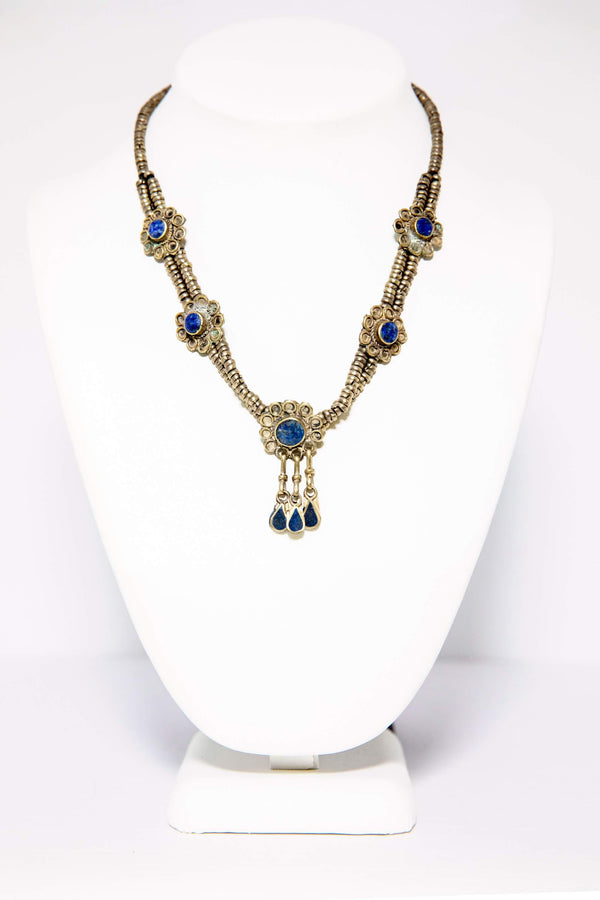Turkish Silver Necklace - Lapis Lazuli Stones - South Asian Jewelry