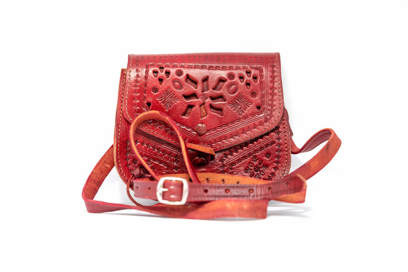 Red Leather Purse - South Asian Fashion & Unique Home Decor