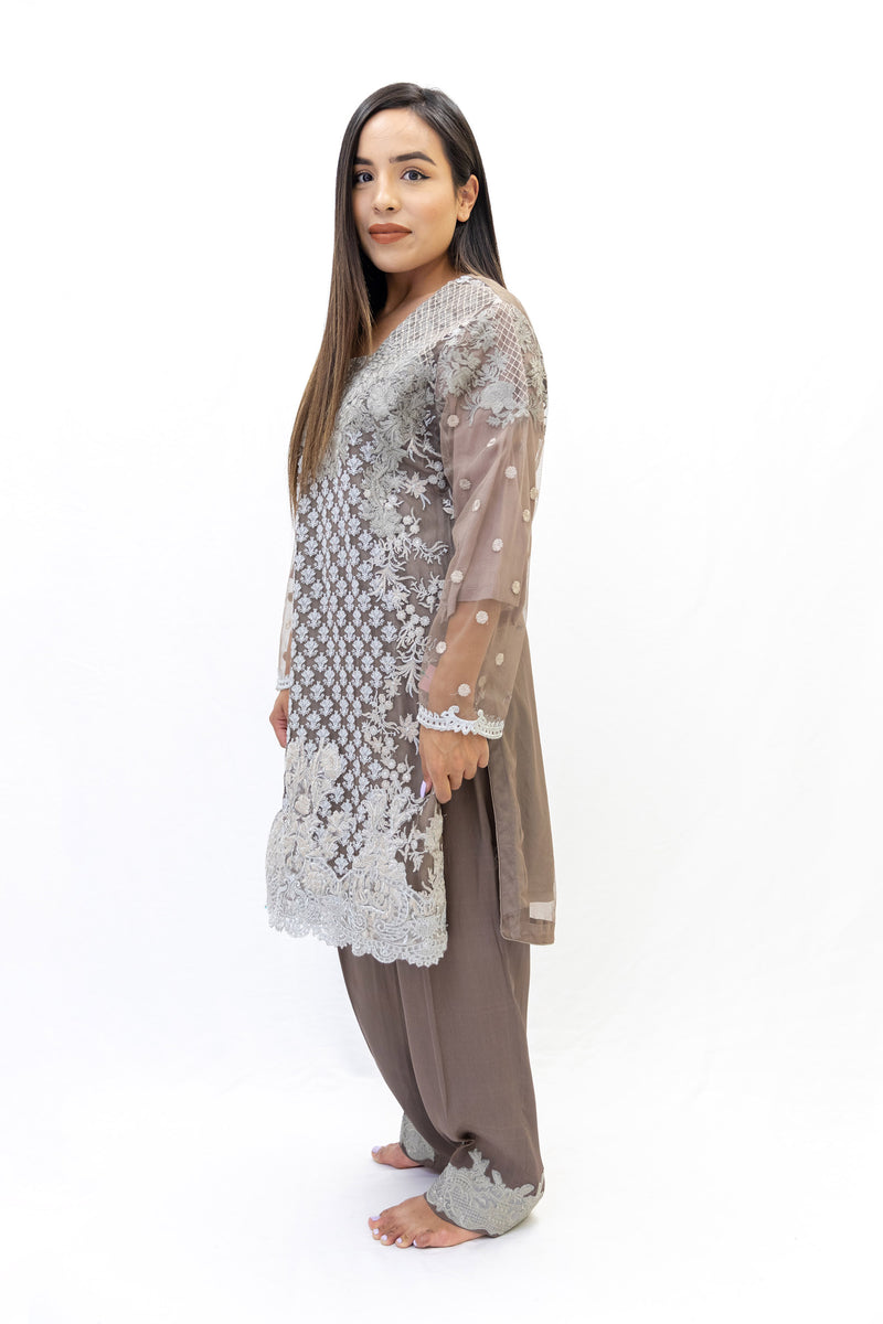 Brown Net Salwar Kameez - Sobia Nazir Suit - South Asian Fashion