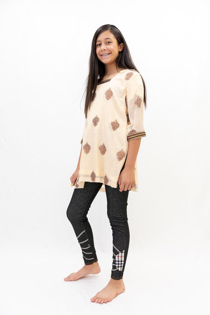 Peach Chiffon Shirt with Brown Embroidery - South Asian Causal Wear