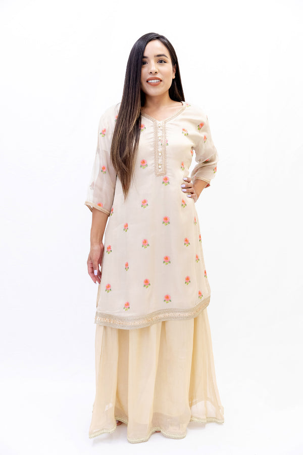 Off-white Net Embroidered Kurti - Women's Shirt - South Asian Fashion