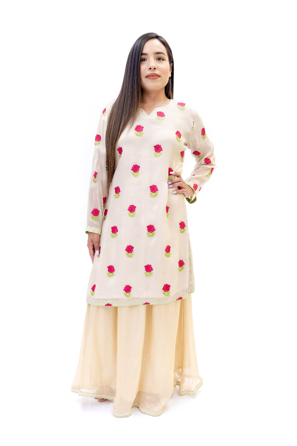Beige Floral Embroidered Net Kurti - Shirt - Indian Pakistani Fashion