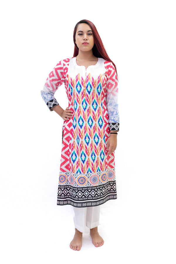 Hot Pink Multi Design Cotton Salwar Kameez-Suit - Trendz & Traditionz Boutique