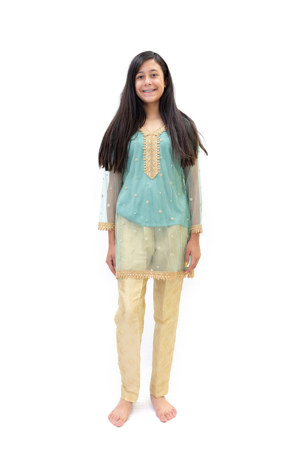 Gold Brocade Pant- Blue Net Shirt - Trendz & Traditionz Boutique