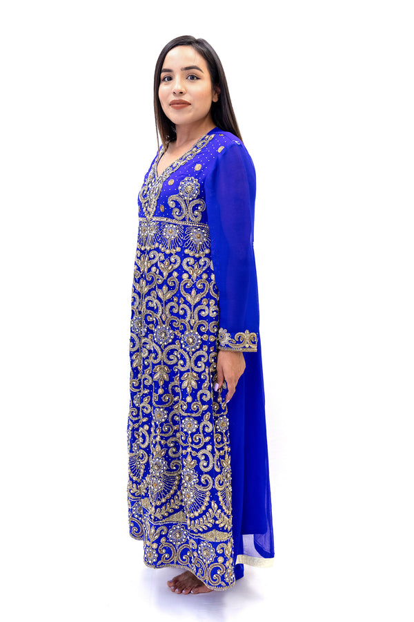 Royal Blue Evening Gown - South Asian Fashion & Unique Home Decor