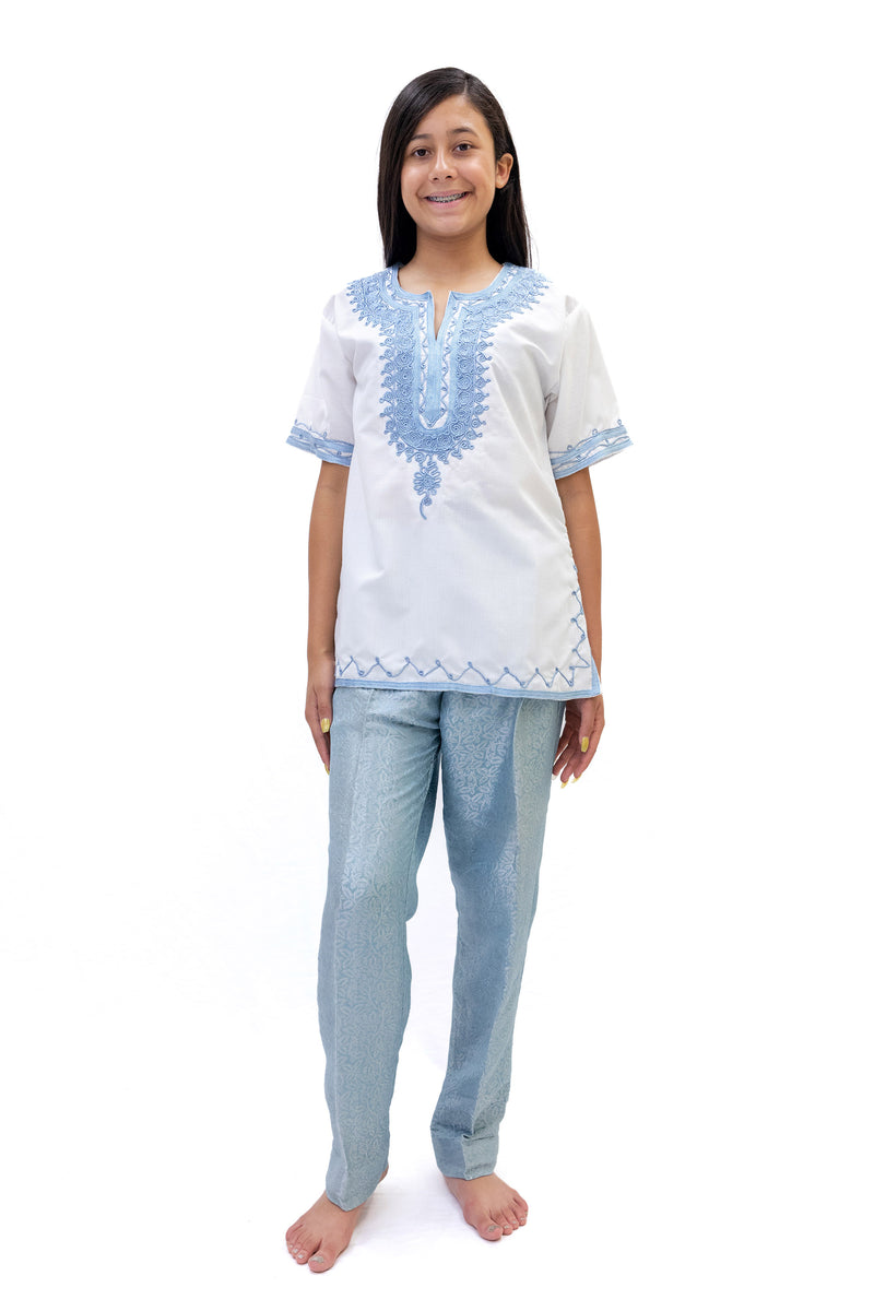White Cotton Shirt With Blue Embroidery - Casual South Asian Fashion