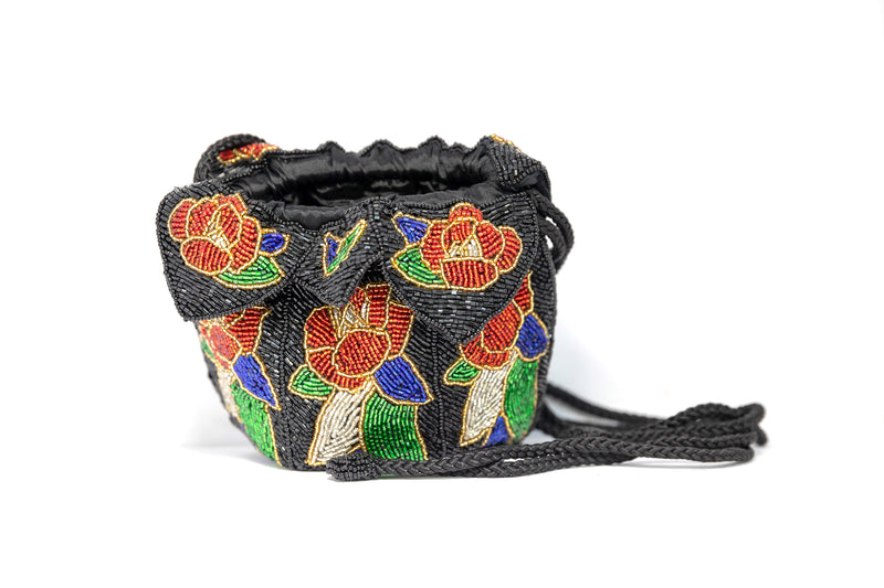 Floral Beaded Round Handbag - South Asian Fashion & Unique Home Decor