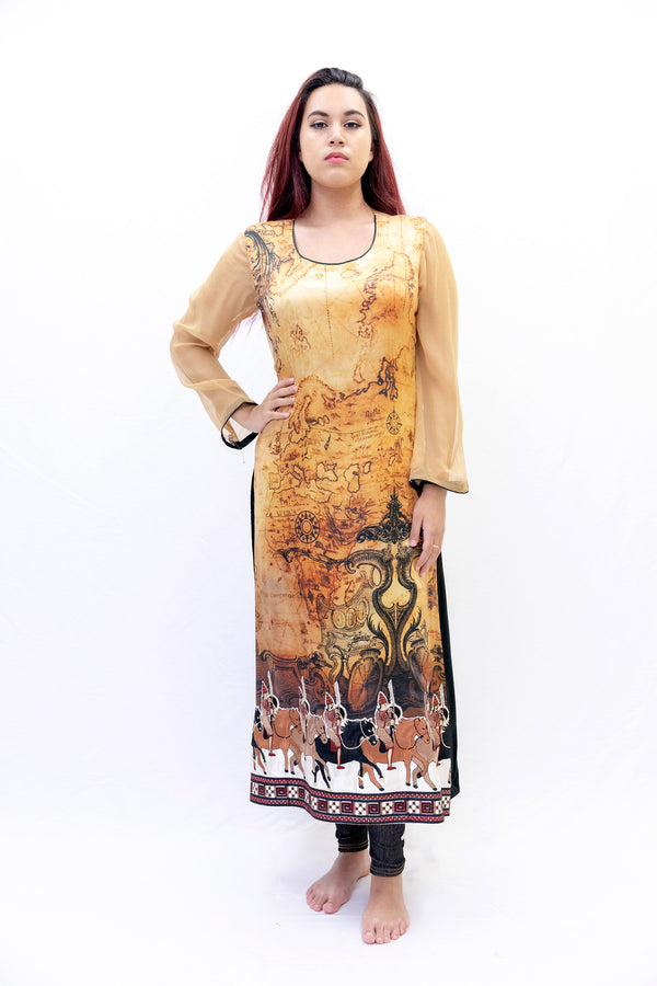Asim Jofa Beige & Black Silk Chiffon Shirt - South Asian Fashion