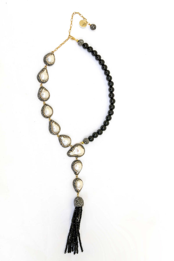 Turkish Silver Pearl with Black stones - Trendz & Traditionz Boutique