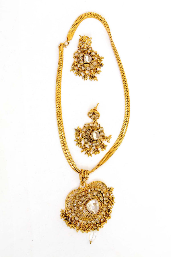 Golden Indian Kundan Necklace Set -Trendz & Traditionz Boutique