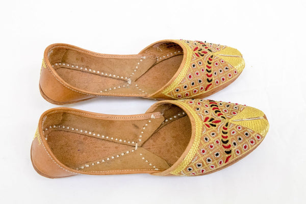 Handmade Leather Golden Shoes-Khussa -Trendz & Traditionz Boutique