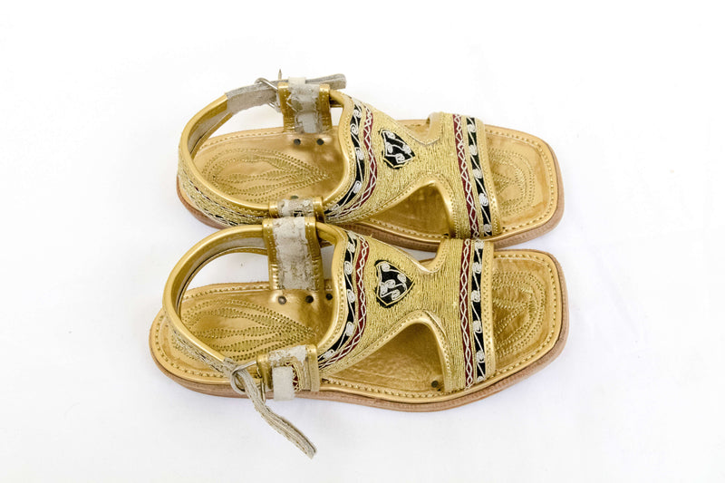 Handmade Gold Children's Chapli Sandals-Trendz & Traditionz Boutique