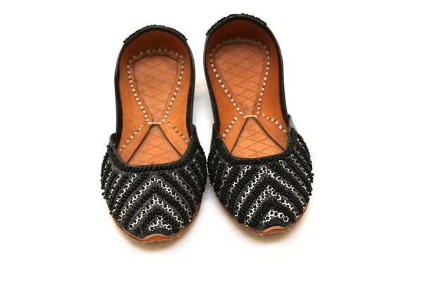Black Handmade Khussa Shoes With Beads - Trendz & Traditionz Boutique