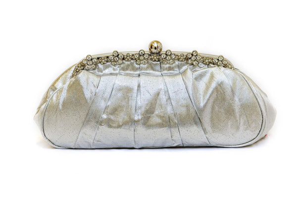 Satin Silver clutch with Crystals - Trendz & Traditionz Boutique