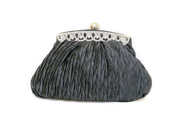 Satin Black Clutch Purse- Trendz & Traditionz Boutique