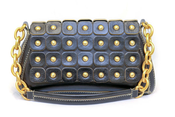 Black Leather Clutch with Golden Beads - Trendz & Traditionz Boutique