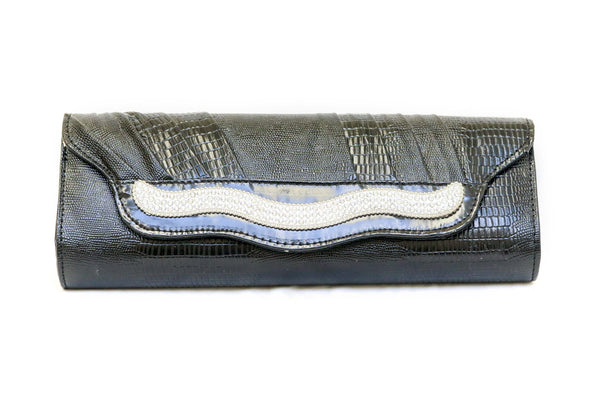 Black embossed clutch purse with crystals - Trendz & Traditionz Boutique