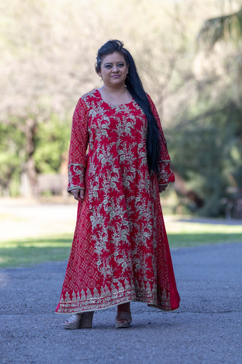 Red Silk Chiffon Dress with Golden Embroidery- Trendz & Traditionz Boutique