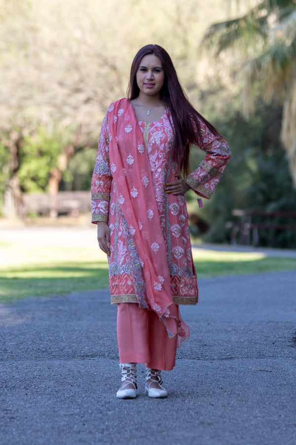 Chiffon Embroidered Suit-Salwar Kameez- Trendz & Traditionz Boutique