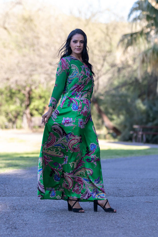 Green Long Sleeve Silk and Chiffon Dress - Trendz & Traditionz Boutique