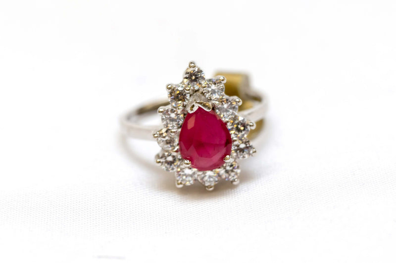 Ruby Ring Surrounded by Sparkling Zircons - Trendz & Traditionz Boutique