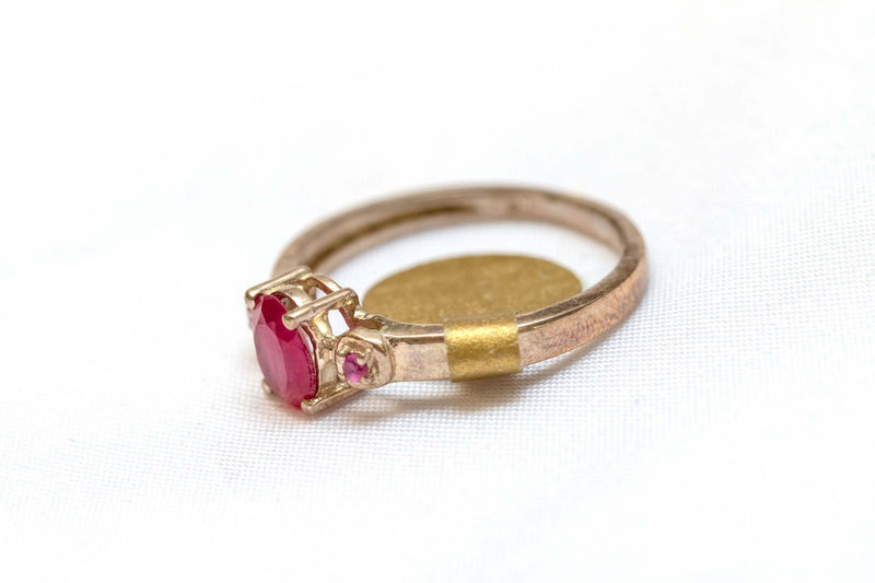 Golden Ring with Red Center Stone - Trendz & Traditionz Boutique