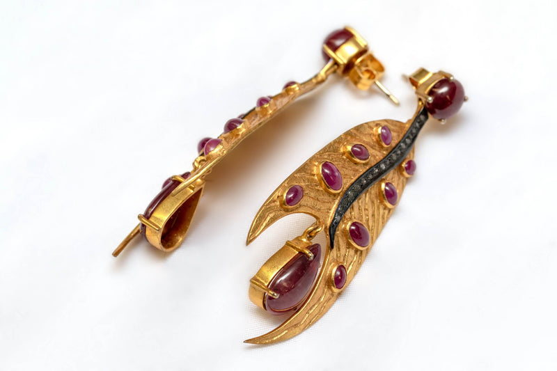 Semi-Precious Ruby Earrings - Trendz & Traditionz Boutique
