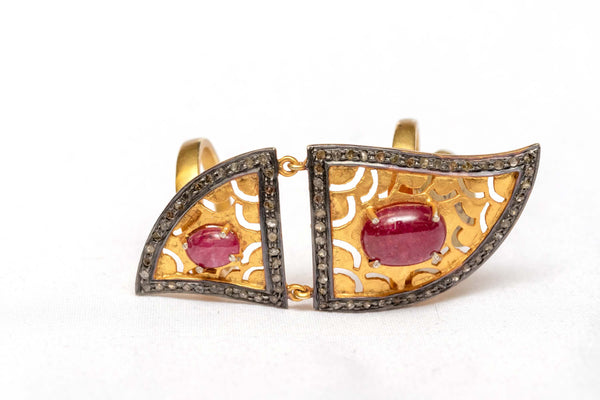Unique Golden Carved Ruby Ring with 2 Bands - Trendz & Traditionz Boutique