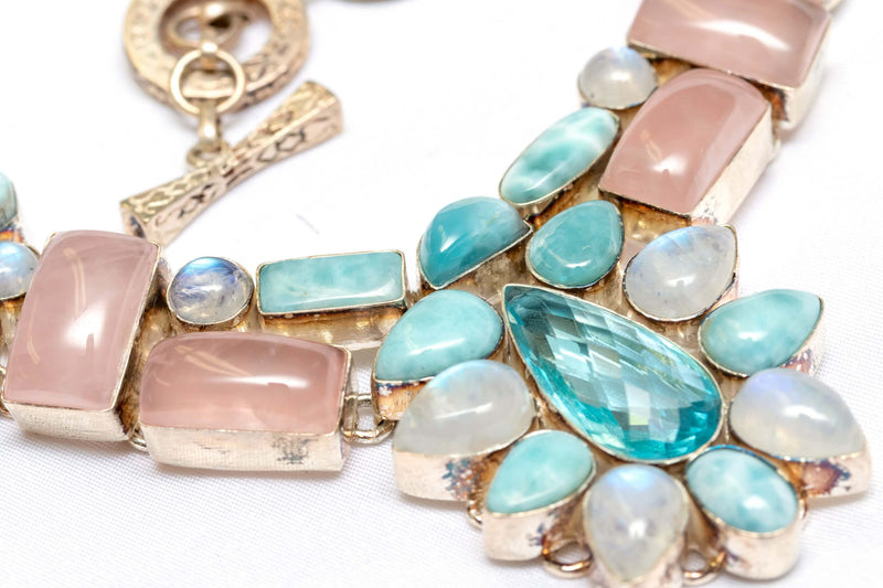 Semi-Precious Necklace with Moonstones, Rose Quartz and Aquamarine Gemstones Necklace